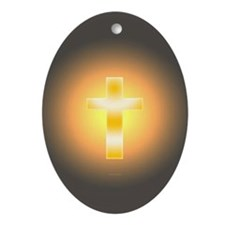 """Easter Cross"" Oval Ornament"
