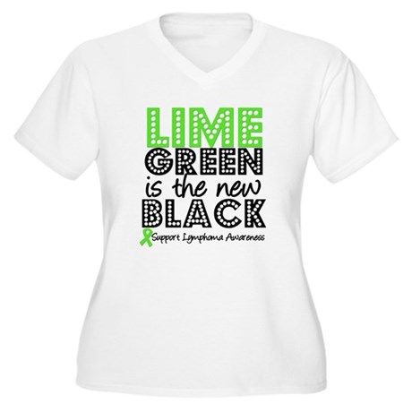 Lymphoma New Black Women's Plus Size V-Neck T-Shir