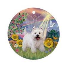 Cloud Angel & Westie Keepsake (Round)
