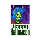 Halloween Alien Girl Rectangle Magnet (10 pack)