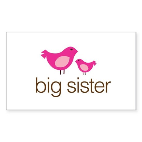 matching big sister t-shirt birdie Sticker (Rectan