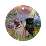 Cloud Angel & Pug Pair Keepsake (Round)