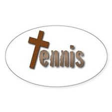 Tennis Cross Oval Decal