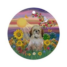 Autumn Sun and Shih TzuKeepsake (Round)