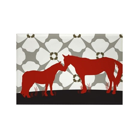 Horse Kisses Silhouette Rectangle Magnet