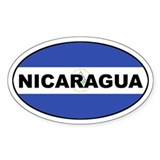 Nicaragua Flag Oval Bumper Stickers