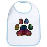 Stained Glass Rainbow Paw Bib