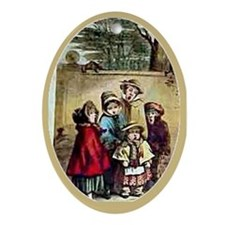 Victorian Christmas Carolers Oval Ornament