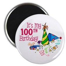 "It's My 100th Birthday (Party Hats) 2.25"" Magnet ("