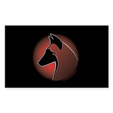 Red Sun Malinois Rectangle Sticker 50 pk)