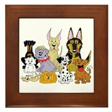 Cartoon Dog Pack Framed Tile