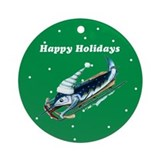 Marlin Sledding green Ornament (Round)
