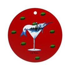 Red Marlin Martini Ornament (Round)
