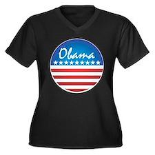 Patriotic Obama Women's Plus Size V-Neck Dark T-Sh