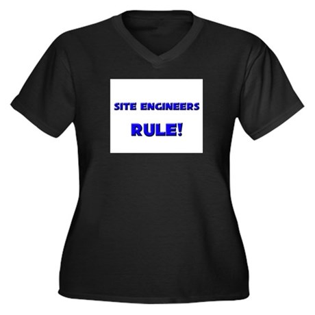 Site Engineers Rule! Women's Plus Size V-Neck Dark