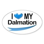 I Love My Dalmation Oval Sticker