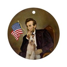 Lincoln & His Wire Fox Terrier Keepsake (Round)