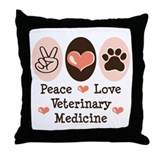 Peace Love Veterinary Medicine Throw Pillow