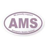 AMS Annapolis Middle School Oval Sticker 50 pk