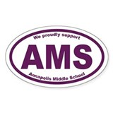 AMS Annapolis Middle School Oval Sticker 10 pk