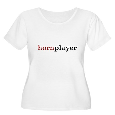 Hornplayer Women's Plus Size Scoop Neck T-Shirt