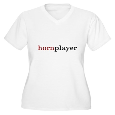 Hornplayer Women's Plus Size V-Neck T-Shirt