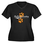 Bulldog Country Women's Plus Size V-Neck Dark T-Sh