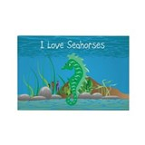 Green I Love Seahorses Rectangle Magnet