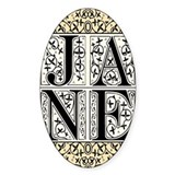 Jane Austen Block Letters Oval Decal