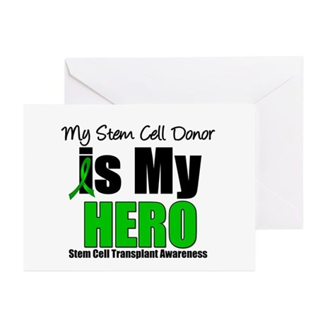 My Stem Cell Donor is My Hero Greeting Cards (Pk o