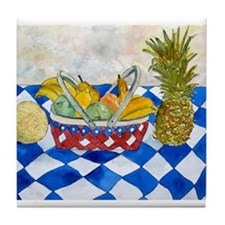 still life fruit basket moder Tile Coaster