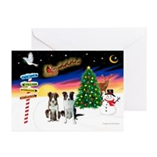 XmasSigns/2 Border Collies Greeting Cards(Pk/10)