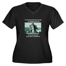 Annabel Lee Women's Plus Size V-Neck Dark T-Shirt