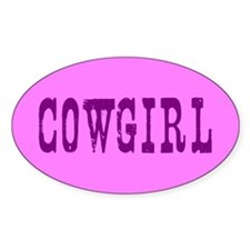 Purple Pink Cowgirl Oval Decal
