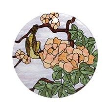 Oriental Flower & Bird Art Keepsake (Round)