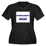 Phonologists Rule! Women's Plus Size V-Neck Dark T