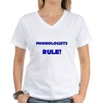 Phonologists Rule! Women's V-Neck T-Shirt