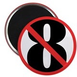 "NO ON 8 Red 2.25"" Magnet (100 pack)"