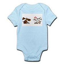 Cute Black white cat valentine Infant Bodysuit