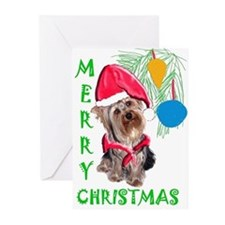 yorkie Christmas Greeting Cards (Pk of 10)