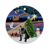 Christmas Magic French Bulldog Keepsake (Round)