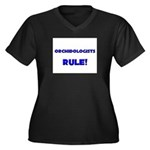 Orchidologists Rule! Women's Plus Size V-Neck Dark