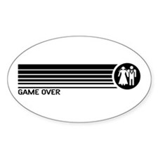 Game Over Wedding Oval Decal