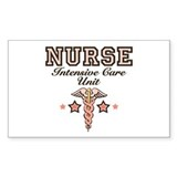 ICU Nurse Caduceus Rectangle Sticker 10 pk)