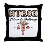 Labor & Delivery Nurse Caduceus Throw Pillow
