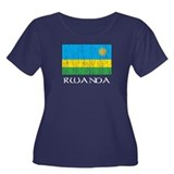 Rwanda Flag Women's Plus Size Scoop Neck Dark T-Sh