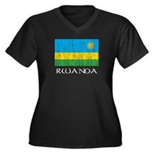 Rwanda Flag Women's Plus Size V-Neck Dark T-Shirt