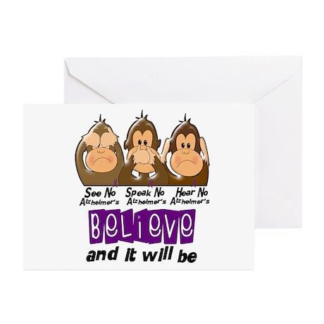 See Speak Hear No Alzheimers 3 Greeting Cards (Pk
