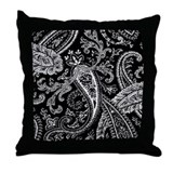 Black and White Paisley Throw Pillow