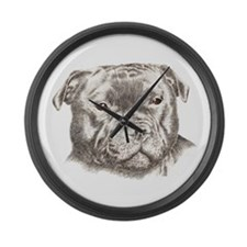 Funny Staffordshire dog Large Wall Clock